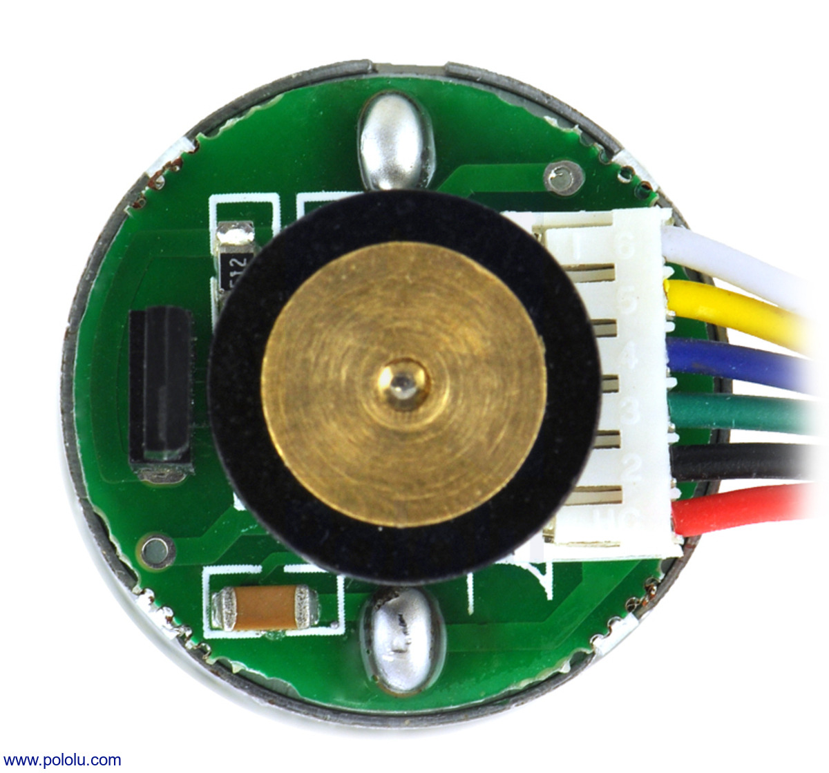 25d mm metal gearmotor with 48 cpr encoder close up view of encoder  [ 1200 x 1119 Pixel ]