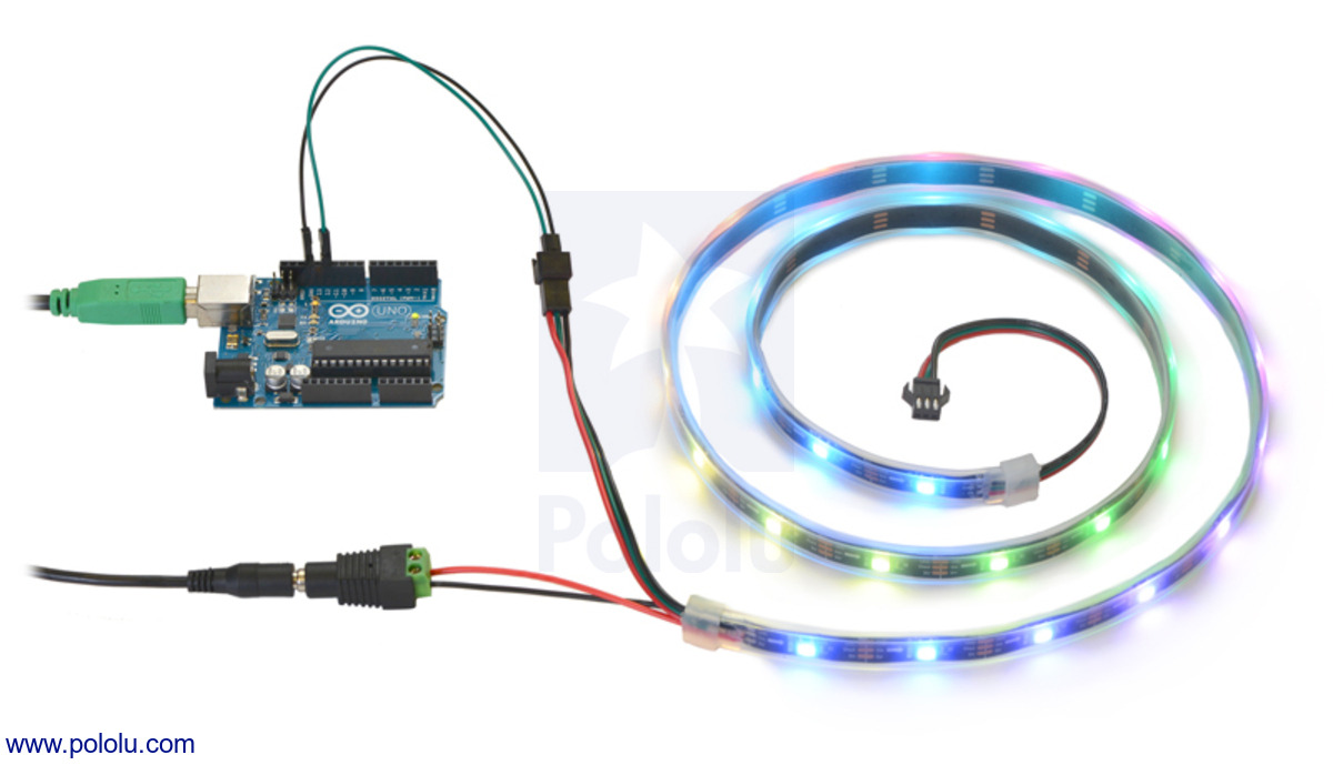 controlling an addressable rgb led strip with an arduino and powering it from a 5v wall power adapter  [ 1200 x 689 Pixel ]