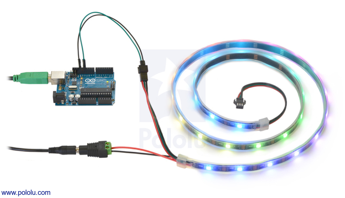 medium resolution of controlling an addressable rgb led strip with an arduino and powering it from a 5v wall power adapter
