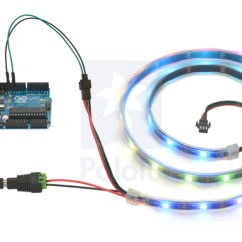 Led Strip Light Wiring Diagram John Deere D140 Pololu Addressable Rgb 120 5v 2m Ws2812b Controlling An With Arduino And Powering It From A Wall Power Adapter