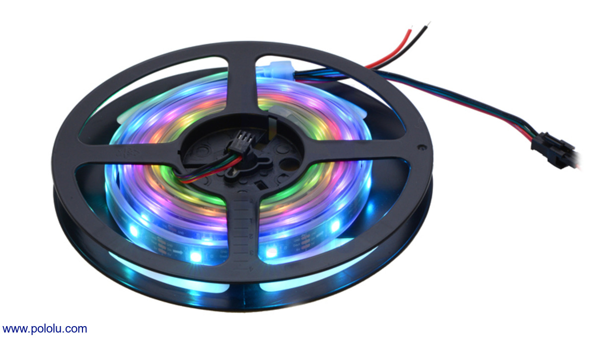 a 2 meter 60 led addressable rgb led strip on the included reel  [ 1200 x 681 Pixel ]