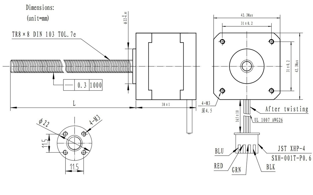 dimension diagram for the nema 17 stepper motors with lead screw units in mm  [ 1200 x 749 Pixel ]