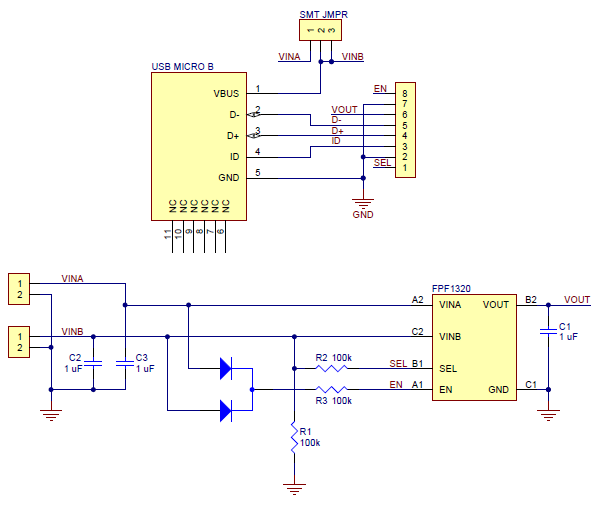 micro usb type b wiring diagram 1995 mitsubishi eclipse gsx pololu fpf1320 power multiplexer carrier with connector schematic