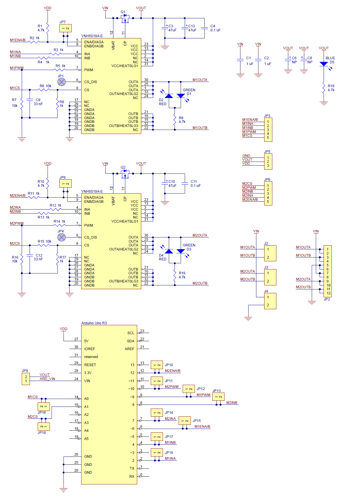 medium resolution of schematic diagram of the pololu dual vnh5019 motor driver shield for arduino