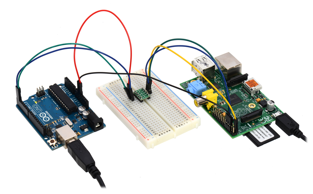 using the 4 channel bidirectional logic level shifter to create a serial connection between a 5 v arduino uno and a 3 3 v raspberry pi  [ 1200 x 745 Pixel ]