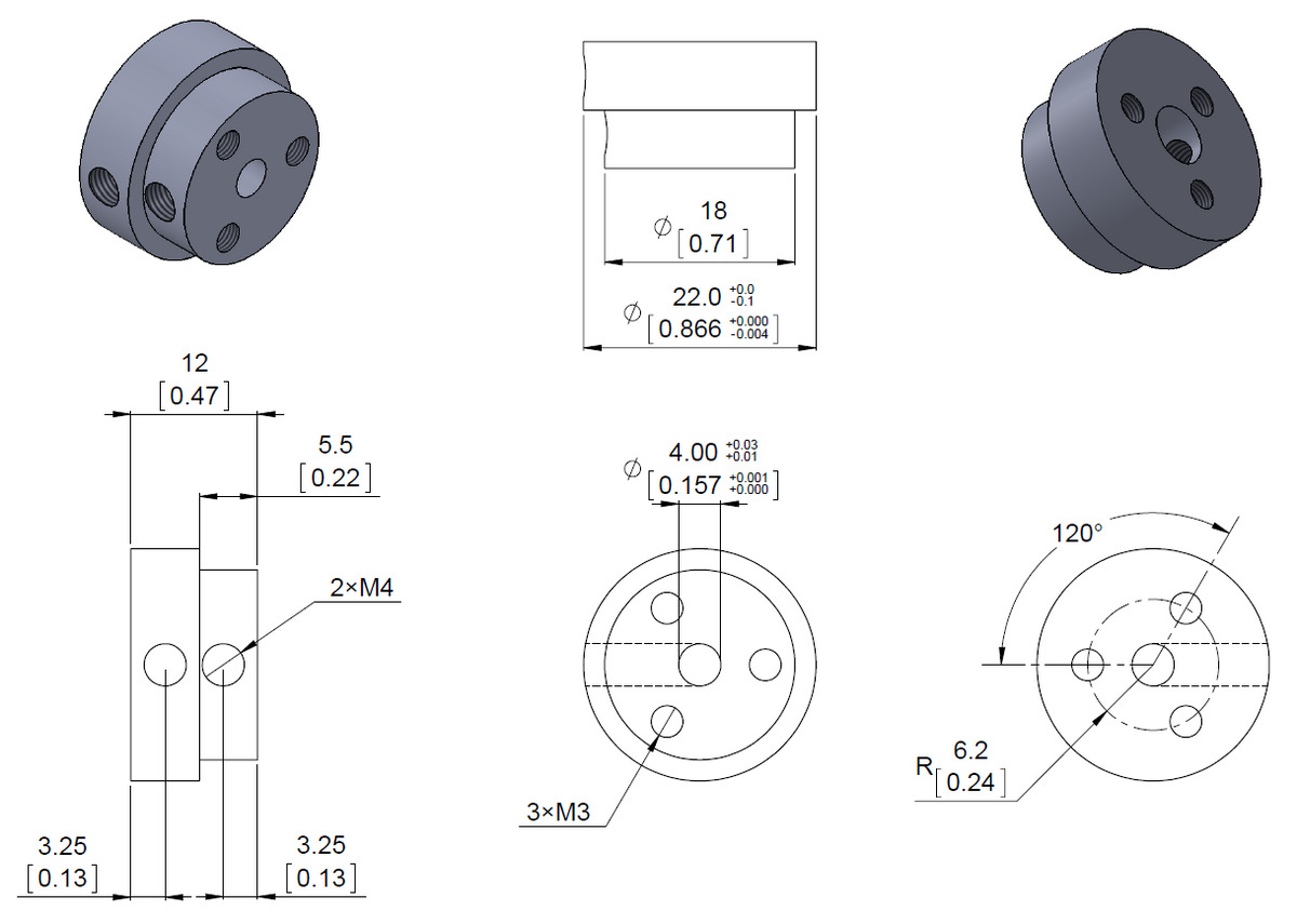 dimension diagram of the pololu aluminum scooter wheel adapter threaded mount for 4 mm shafts units are mm over inches  [ 1200 x 855 Pixel ]