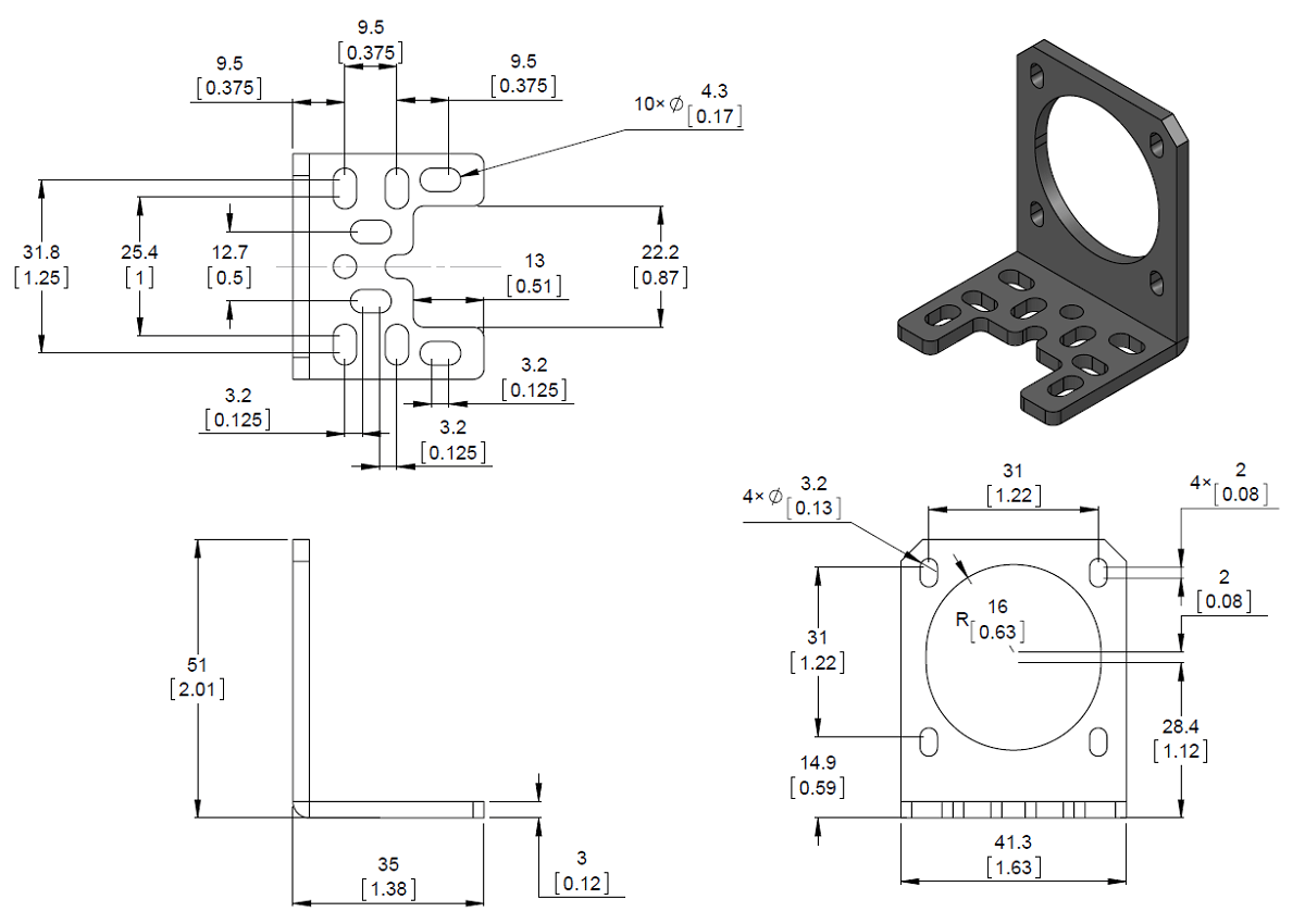 dimension diagram of the pololu stamped aluminum l bracket for nema 17 stepper motors units are mm over inches  [ 1200 x 850 Pixel ]
