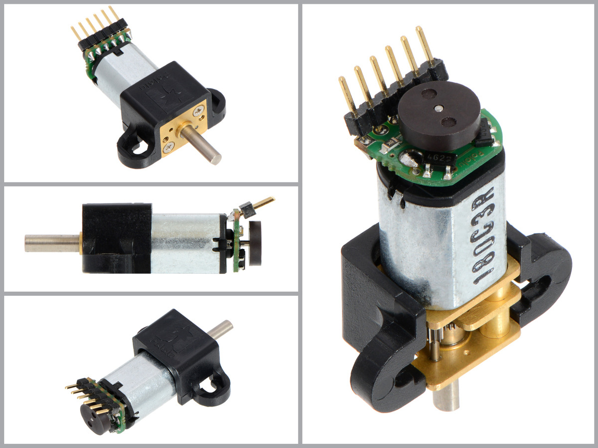 hight resolution of magnetic encoder kit for micro metal gearmotors assembled with 2mm pitch male header pins installed over the magnetic disc