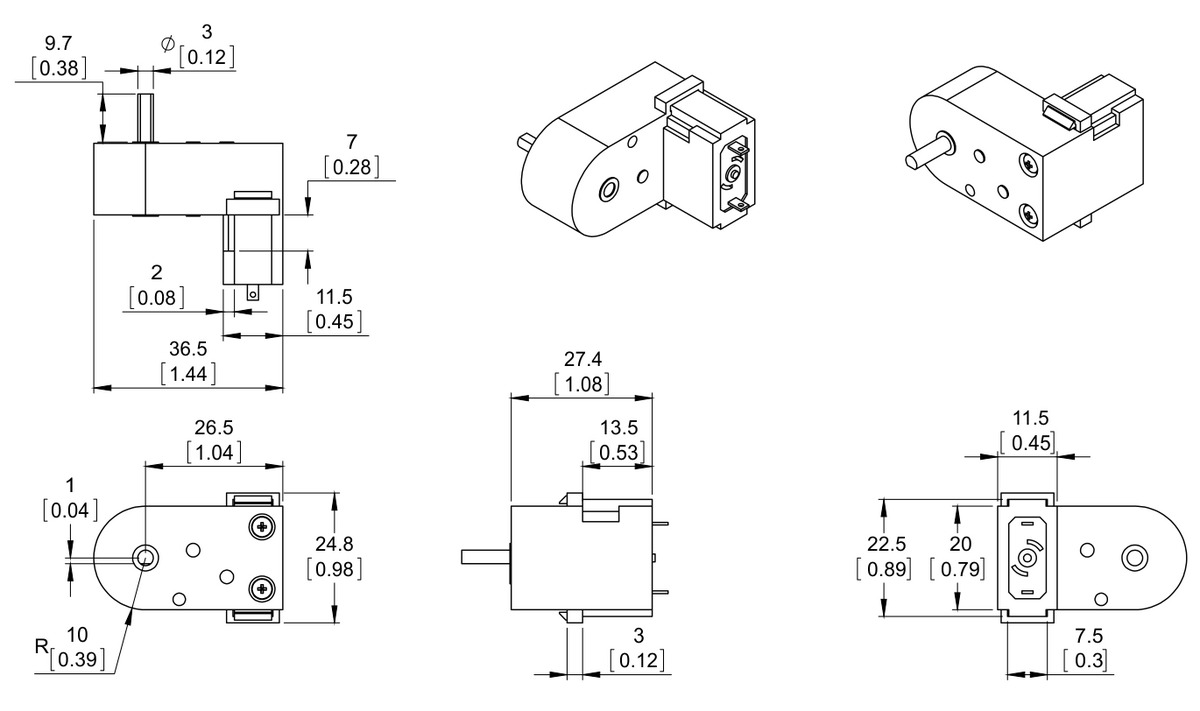 dimension diagram of the mini plastic gearmotor with offset 3mm d shaft output units are mm over in  [ 1200 x 711 Pixel ]