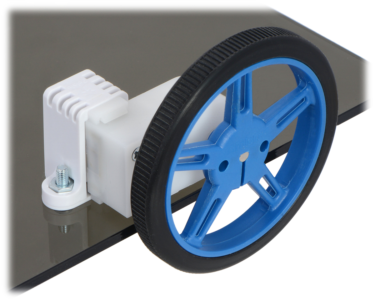 medium resolution of 60 8mm pololu wheel and offset mini plastic gearmotor mounted with a tall mini plastic gearmotor bracket with spacer