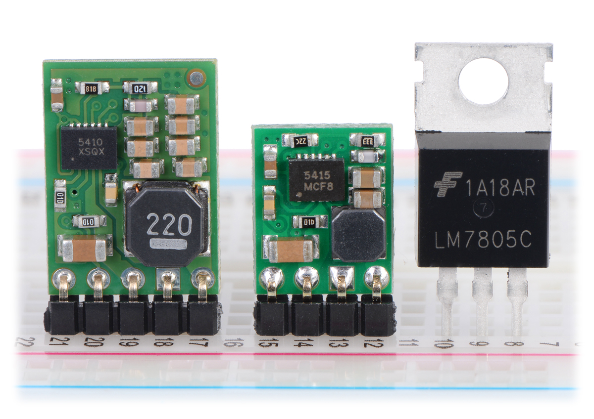medium resolution of pololu step down voltage regulators d24v10fx and d24v5fx next to a 7805 voltage regulator in to 220 package