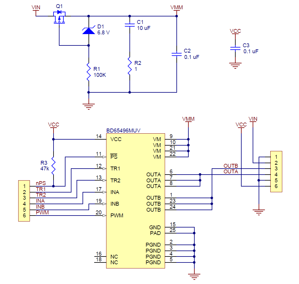 bd65496muv single brushed dc motor driver carrier schematic diagram  [ 1000 x 950 Pixel ]