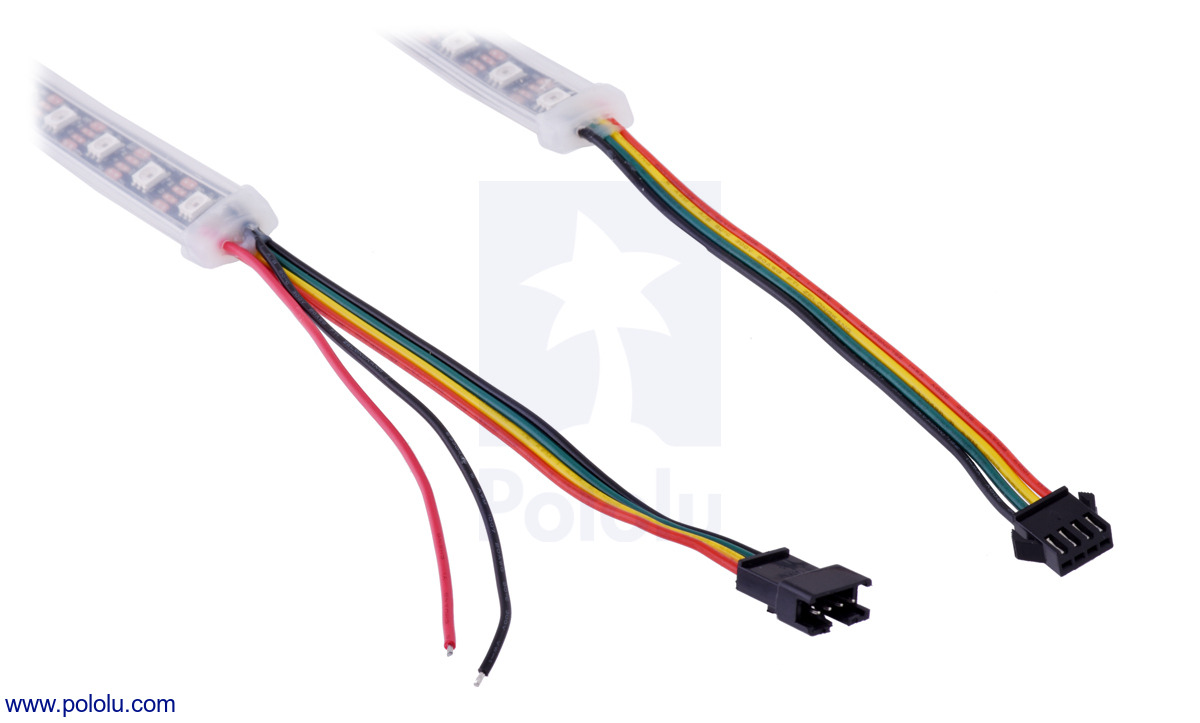 hight resolution of the connectors and power wires for our sk9822 and apa102c led strips on the left is the input end of the strip and on the right is the output end