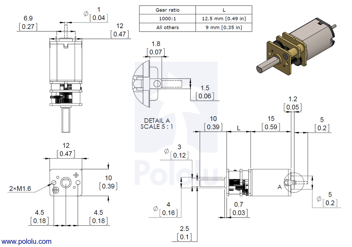 dimensions of the pololu micro metal gearmotors with precious metal brushes low power lp medium power mp and high power hp  [ 1200 x 844 Pixel ]