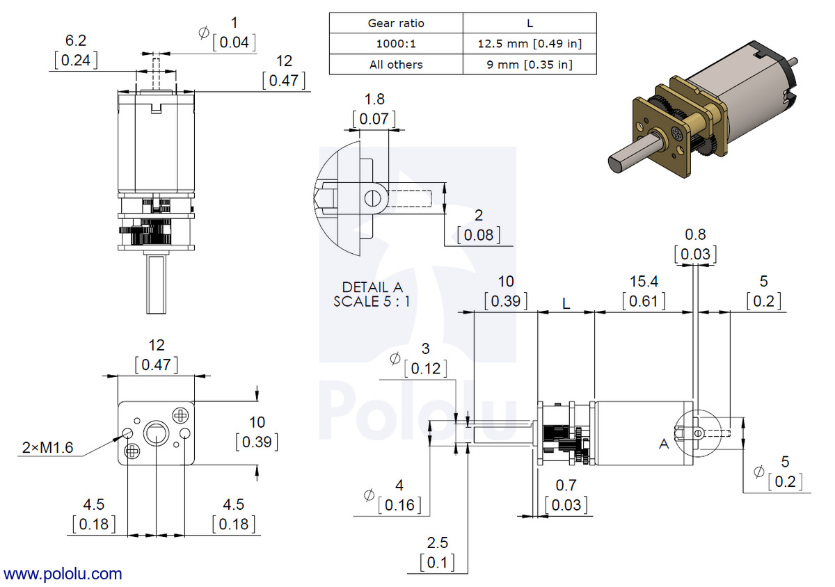 hight resolution of dimensions of the pololu micro metal gearmotors with carbon brushes hpcb units are mm over inches