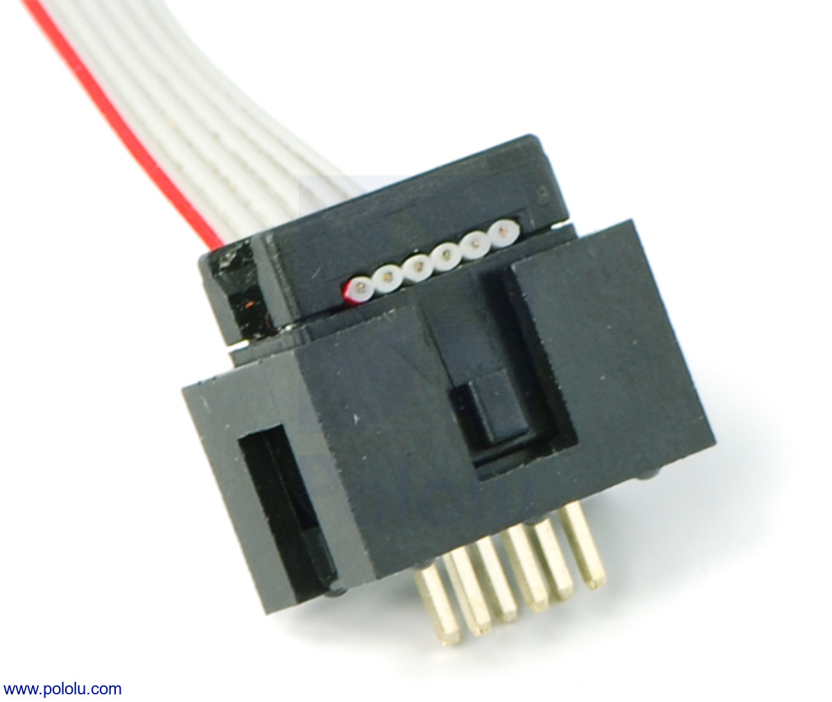 medium resolution of shrouded 2 3 pin box header with a ribbon cable and idc connector plugged into it