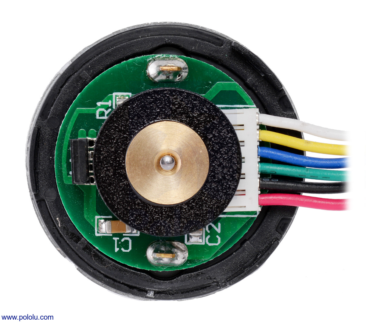 hight resolution of 37d mm metal gearmotor with 64 cpr encoder with end cap removed