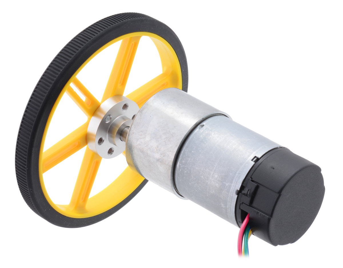 37d mm metal gearmotor with 64 cpr encoder connected to a pololu 90 10mm wheel with a pololu universal mounting hub  [ 1200 x 938 Pixel ]