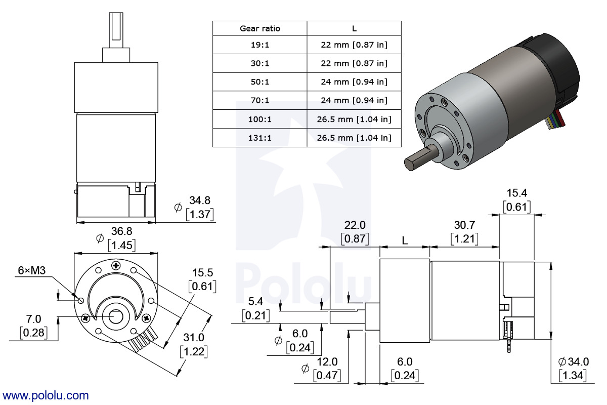 medium resolution of dimensions of the 37d mm metal gearmotor with 64 cpr encoder units are mm over inches