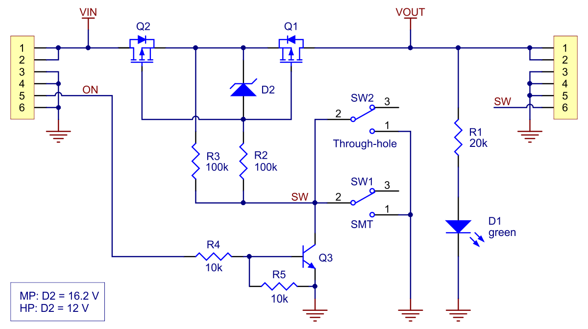 schematic diagram of the big mosfet slide switch with reverse voltage protection  [ 1200 x 672 Pixel ]
