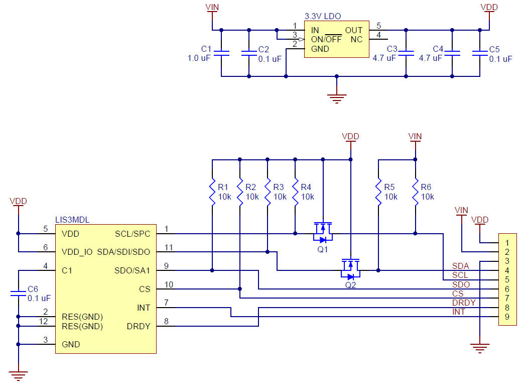 hight resolution of the above schematic shows the additional components the carrier board incorporates to make the lis3mdl easier to use including the voltage regulator that