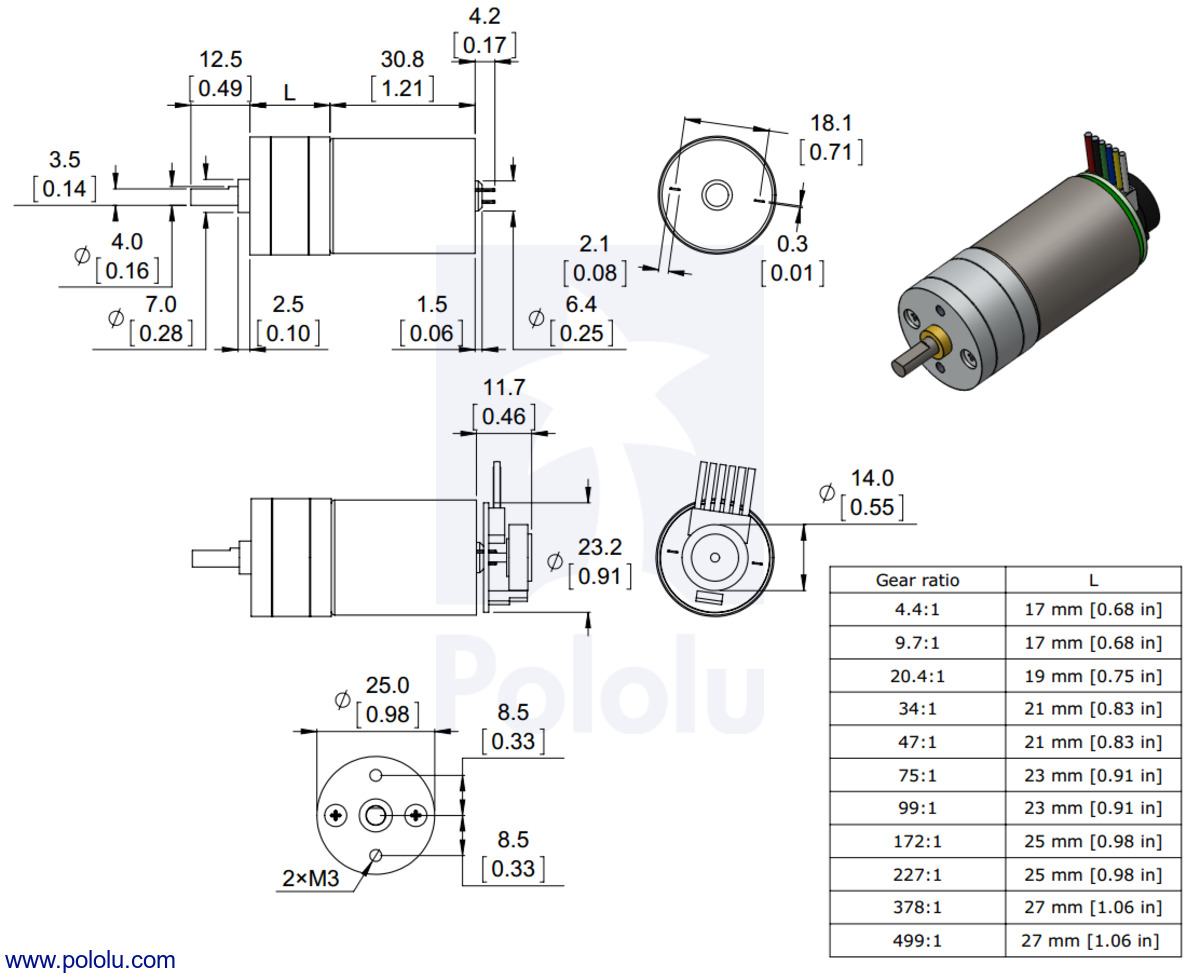 dimensions of the pololu 25d mm metal gearmotors units are mm over inches  [ 1200 x 979 Pixel ]
