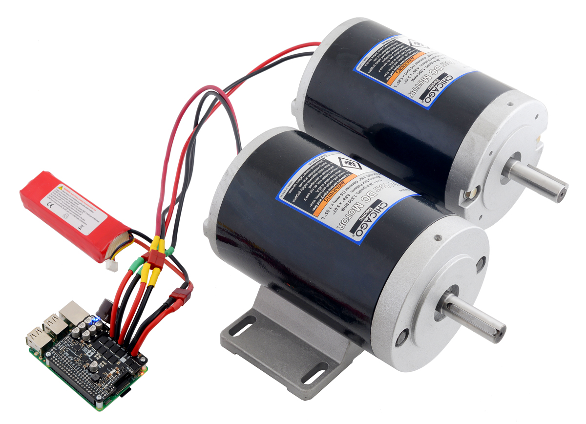 these g2 dual high power motor drivers are add on boards for the raspberry pi featuring pairs of discrete mosfet h bridges designed to drive two large  [ 1200 x 868 Pixel ]