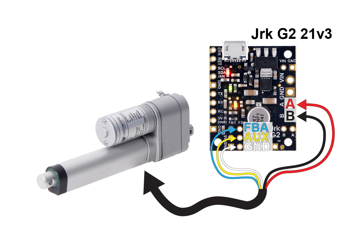 hight resolution of using a jrk g2 motor controller with a linear actuator with feedback