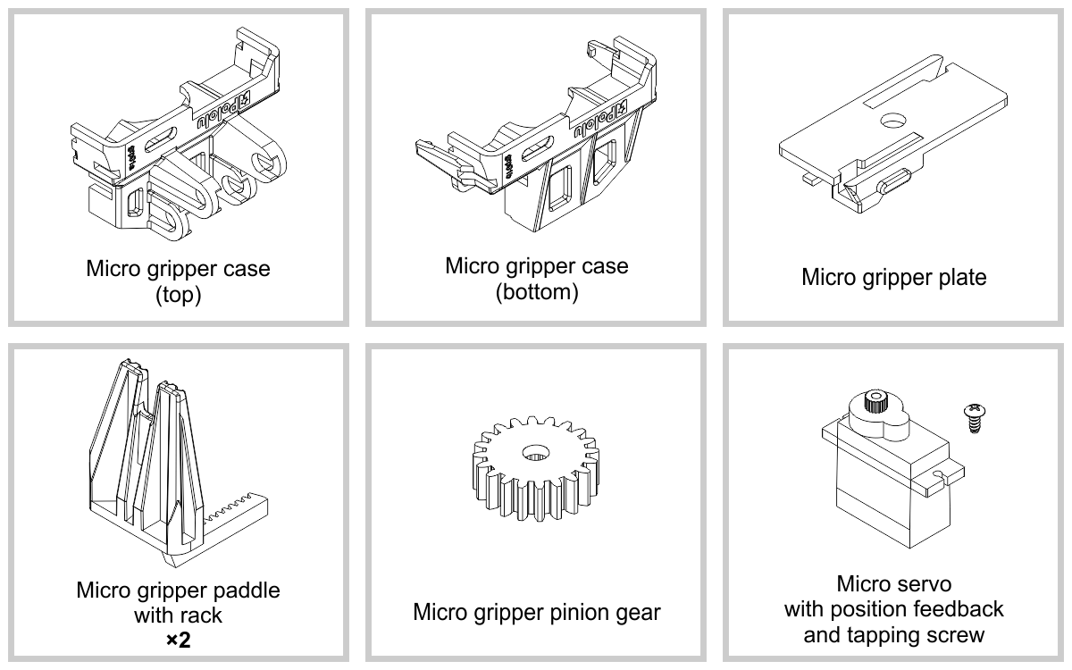 the robot arm kit for romi consists of the following items  [ 1200 x 750 Pixel ]