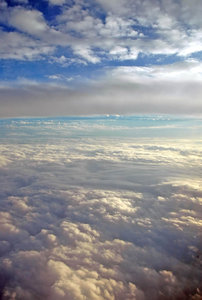 Cloud 'plane': Taken through the window of an aeroplane.NB: Credit to read