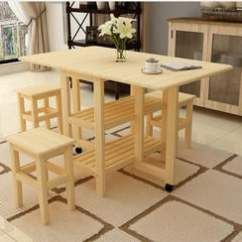 Kitchen Table Stools Used Mobile Kitchens For Sale 一桌四凳 松木折疊餐桌家用餐桌吃飯桌多功能伸縮桌長方形簡易小餐桌客廳 松木折疊餐桌家用餐桌吃飯桌多功能伸縮