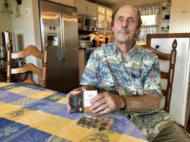 Jon Northrop, 74, uses cannabis to relieve pain stemming from multiple sclerosis and a series of back injuries. His product of choice is a cannabis-infused chocolate bar, which he eats —but only two squares — before bedtime.