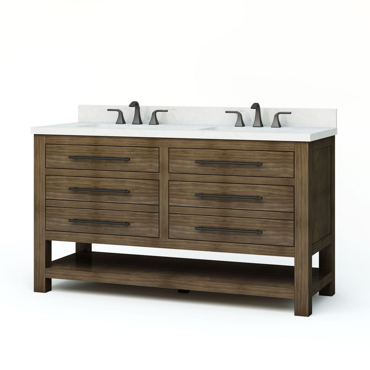 Allen Roth Kennilton 60 In Gray Oak Double Sink Bathroom Vanity With Carrera White Engineered Stone Top In The Bathroom Vanities With Tops Department At Lowes Com