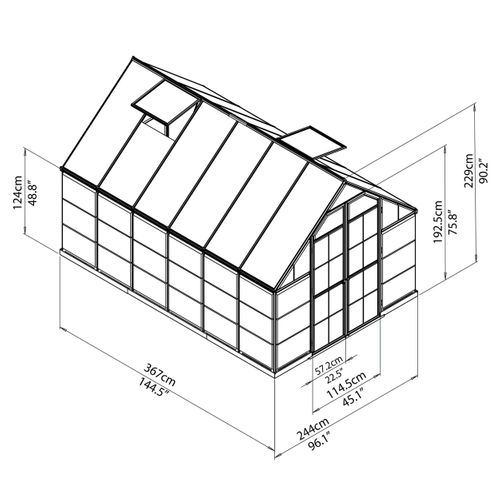 GREENHOUSE POLYCARBONATE OUTDOOR STEEL BASE Balance 8' x