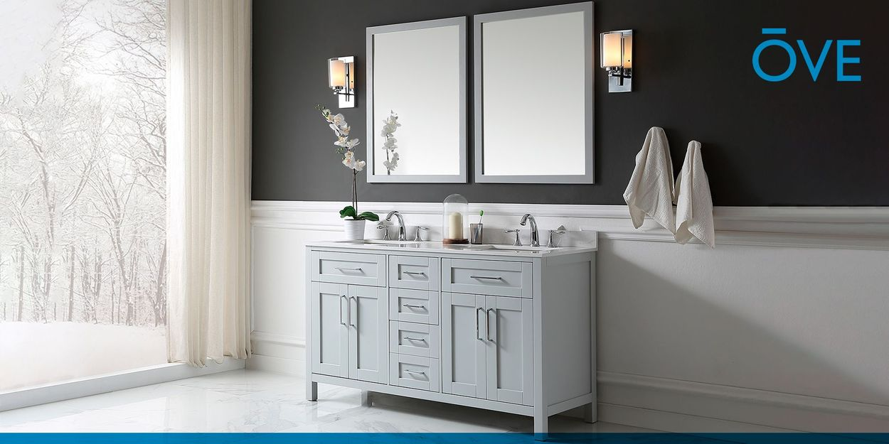 Ove Decors Tahoe 60 In Dove Gray Double Sink Bathroom Vanity With White Cultured Marble Top Mirror Included In The Bathroom Vanities With Tops Department At Lowes Com