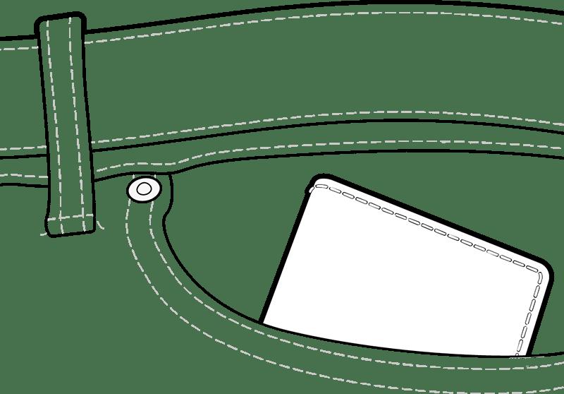 Tenete il portafoglio compatto Secrid nella tasca anteriore.