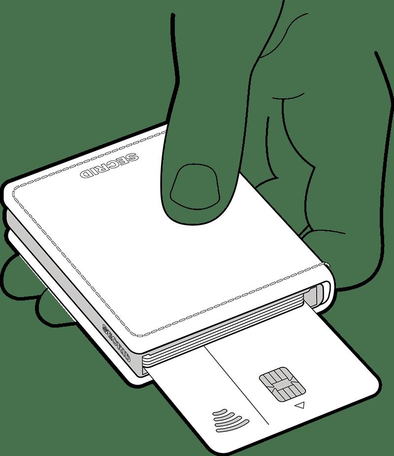Utilizzate la carta posteriore per il pagamento senza contatto, senza estrarla dal vostro portafoglio.