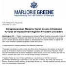 Georgia congresswoman Marjorie Taylor Greene files articles of impeachment against Biden
