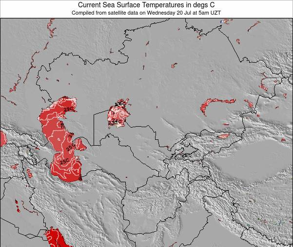 Uzbekistan Sea Temperature Map