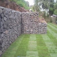 Courtyard stone gabion cage temporary retaining walls ...