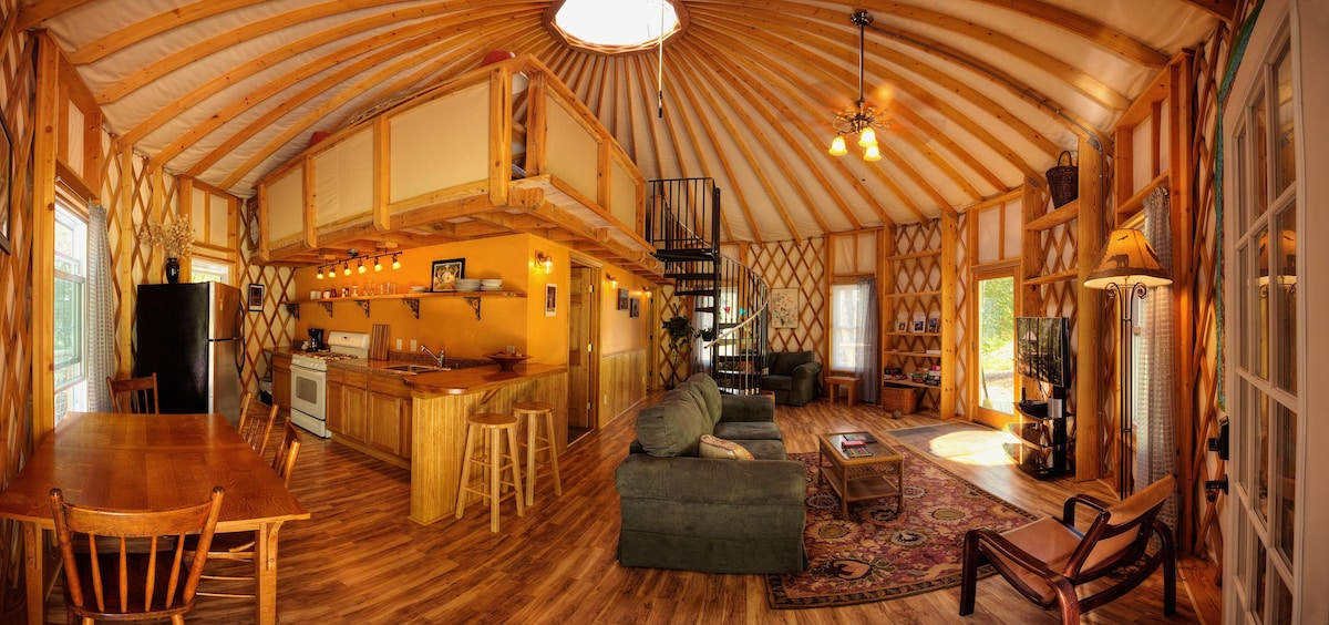 full kitchen set propane stove floyd yurt lodging - an experience yurts for rent in ...