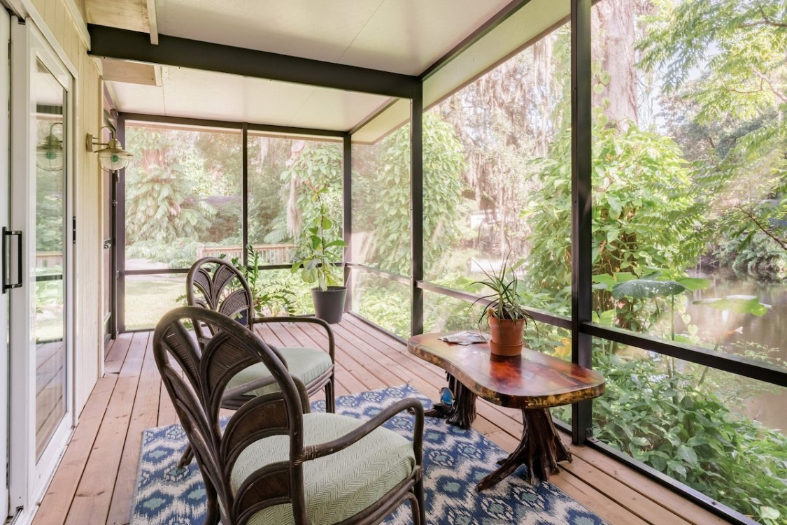 screen porch with hammock in a cool Airbnb in Tampa FL