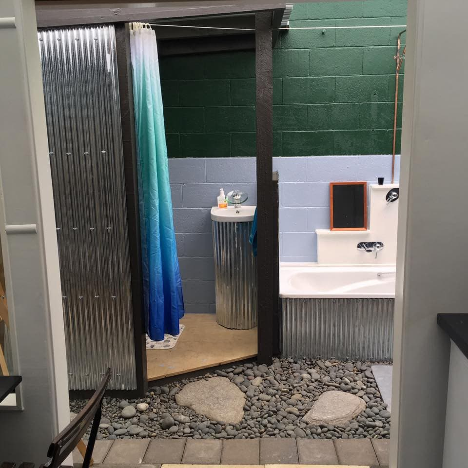 Selfcontained cabin  outdoor bathroom  Cabins for Rent