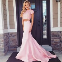 Pearl Beaded Short Sleeves Long Pink 2 Piece Prom Dresses ...