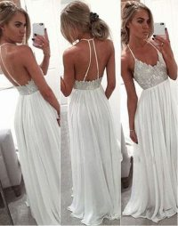 White Chiffon Sequin Long Prom Dress For Teens, Backless ...