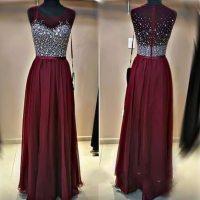 2016 Cute Sequins Top Burgundy Chiffon Long Prom Dress