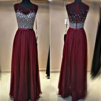 2016 Cute Sequins Top Burgundy Chiffon Long Prom Dress ...