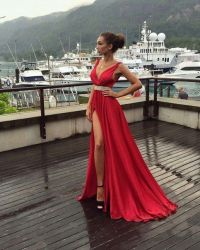 Elegant Red Evening Dress,Long Prom Dress,Sexy Front Slit ...