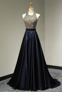 Halter Backless Beading Prom Dress,Long Prom Dresses,Prom