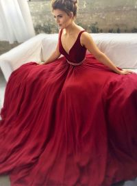 Sexy Burgundy Prom Dresses, Maroon Prom Dress, V Neck Prom ...